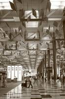 Changi Airport Singapore, City in monochrome
