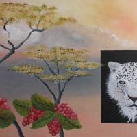snow leopard with African flora and fauna Art Prints & Posters by Ann Williams