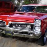 """1967-Pontiac GTO in Red"" by garthglazier"