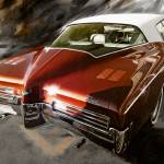 """1971-Buick Riviera in Maroon"" by garthglazier"