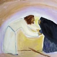 Jesus and the bent over Woman Art Prints & Posters by Barbara Schwarz