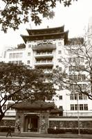 Chinese Style Architecture Singapore, monochrome