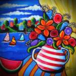 """Summer Flowers Watermelon and Sailboats"" by reniebritenbucher"