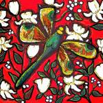 """Dragonfly On Red With White Flowers"" by reniebritenbucher"