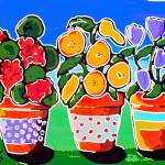 """3 Whimsical Flower Pots"" by reniebritenbucher"