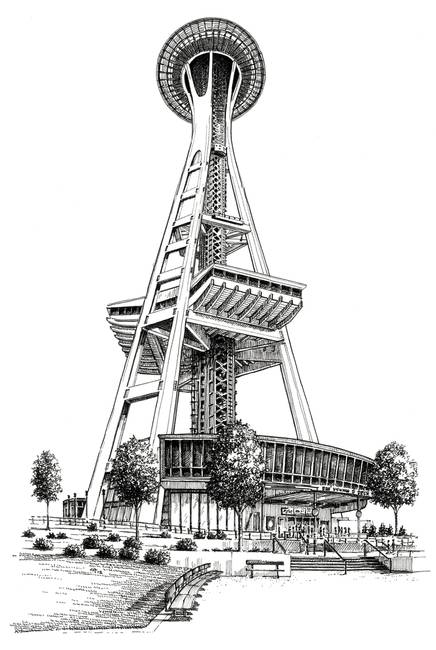 Stunning Quot Space Needle Quot Drawings And Illustrations For