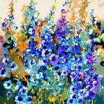 """Delphiniums Modern Floral Art"" by GinetteCallaway"