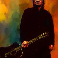 Johnny Cash Art Portrait by artist Edward Vela Art Prints & Posters by Edward Vela