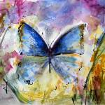 """Blue Butterfly Watercolor by Ginette"" by GinetteCallaway"