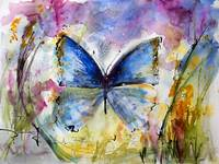 Blue Butterfly Watercolor by Ginette