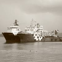 monochrome industrial, Ship at dock Art Prints & Posters by Blue Sentral Photography