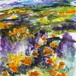"""Abstract California Poppies Expressive Watercolor"" by GinetteCallaway"