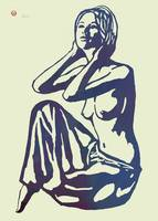 Nude Pop Stylised Etching Art Poster