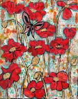 Butterfly Sonata, red poppy art