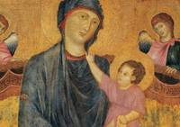 Detail of Madonna and Child Enthroned with Two Ang