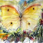 """Yellow Butterfly Watercolor Painting"" by GinetteCallaway"