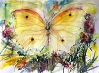 Yellow Butterfly Watercolor Painting