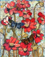 beethoven butterflies, red poppy art