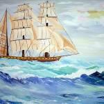 """""""Sailing ship in rough seas"""" by 1kelton"""