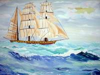 Sailing ship in rough seas