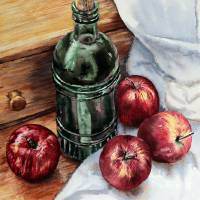 Apples and a bottle of LiqueurFNL Art Prints & Posters by Joey Agbayani