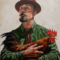 ManHoldingAChicken Art Prints & Posters by Kevin Peddicord