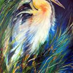"""BLUE HERON OF LOUISIANA"" by MBaldwinFineArt2006"
