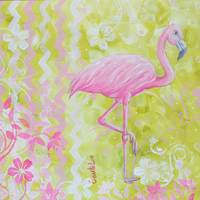 'Flamingo Dance Coastal Whimsy