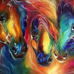 """COLOR MY WORLD WITH HORSES"" by MBaldwinFineArt2006"