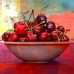 """Cherries on the Table with Textures"" by Groecar"