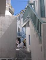Mykonos Light Blue Stairs in Alley