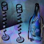 """Exotic Wine Glasses And Bottle Blue"" by artimus"
