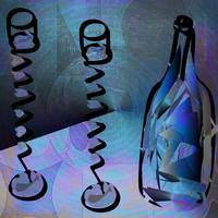 Exotic Wine Glasses And Bottle Blue