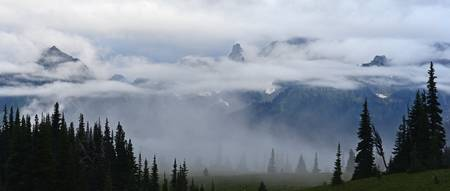 Cowlitz Chimneys in Clouds and Mist
