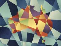 Australia Geometric Retro Map