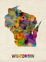 Wisconsin Watercolor Map