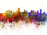 Salvador de Bahia skyline in watercolor background