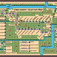 Vancouver Skytrain Map (2015) in SMB3 Style Art Prints & Posters by Dave Delisle