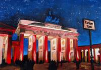Berlin Brandenburg Gate with Paris Place at night