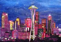 Seattle Skyline with Space Needle at Night