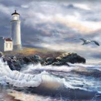North Head lighthouse at Morning Glow Art Prints & Posters by Gina Femrite