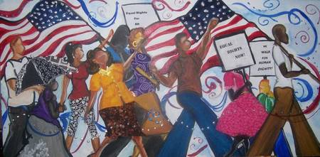Freedom Marchers 15x30 Mixed media