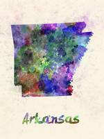 Arkansas US state in watercolor