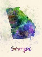 Georgia US state in watercolor