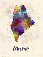 Maine US state in watercolor