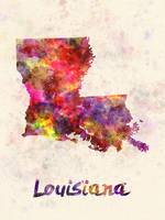 Louisiana US state in watercolor
