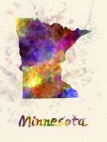 Minnesota US state in watercolor