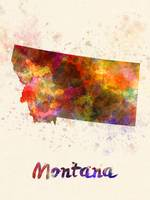Montana US state in watercolor