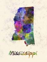 Mississippi US state in watercolor