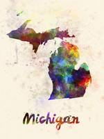 Michigan US state in watercolor